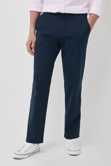 Dark Blue Relaxed Fit Stretch Chino Trousers