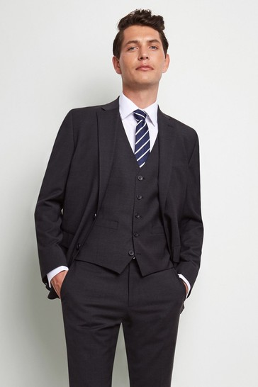 Moss 1851 Performance Tailored Fit Charcoal Suit: Jacket