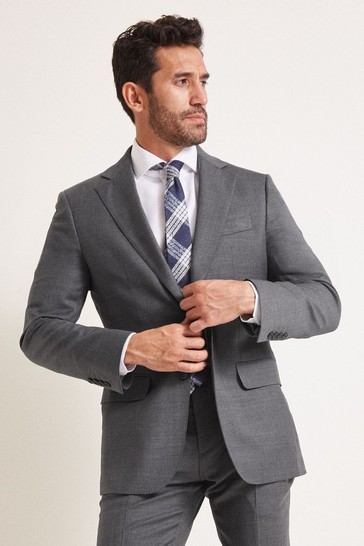 Moss 1851 Tailored Fit Grey Twill Suit: Jacket