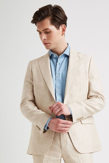 Moss 1851 Stone Linen Suit: Jacket