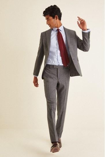 DKNY Grey Slim Fit Texture Suit: Jacket