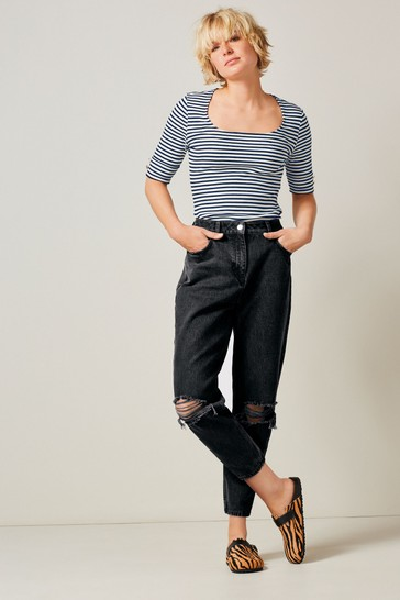 Washed Black Ripped Womens Mom Jeans