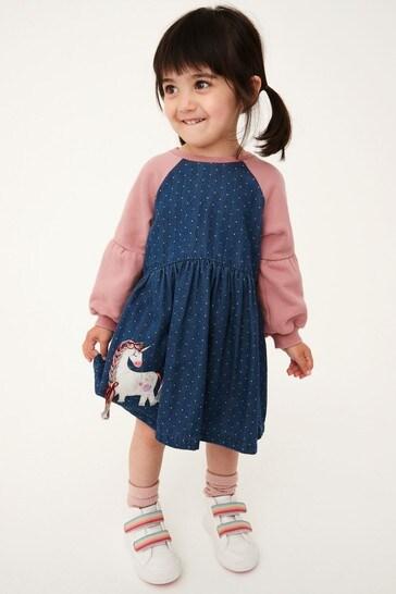 Unicorn Denim Raglan Dress (3mths-7yrs)
