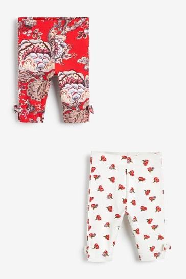 Red Floral 2 Pack Crop Leggings (3mths-7yrs)