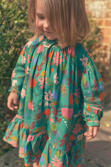 Green Floral Oversized Printed Dress (3mths-7yrs)