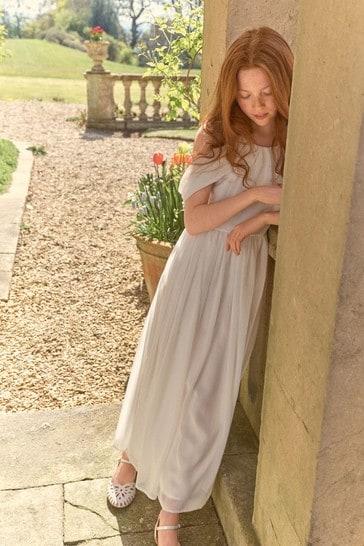 Cream Chiffon Bridesmaid Dress (6-16yrs)