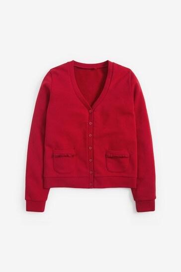 Red Frill Pocket Jersey Cardigan (3-16yrs)