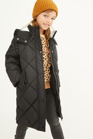 Black Shower Resistant Quilted Padded Jacket (3-16yrs)