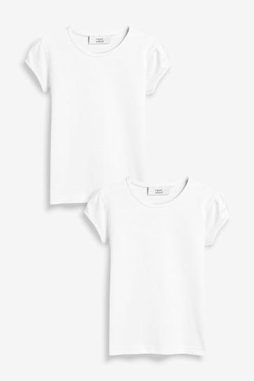 White 2 Pack Puff Sleeve T-Shirts (3-16yrs)