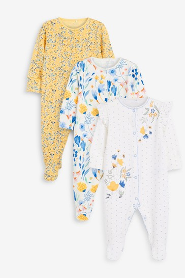 Yellow Floral 3 Pack Embroidered Detail Sleepsuits (0-3yrs)