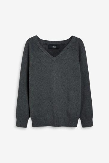 Grey Knitted V-Neck Jumper (3-18yrs)