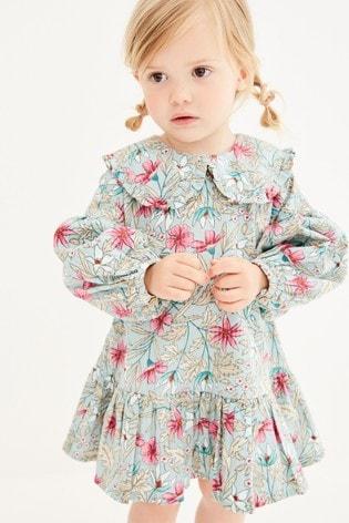 Mint Floral Printed Seersucker Collar Dress (3mths-7yrs)