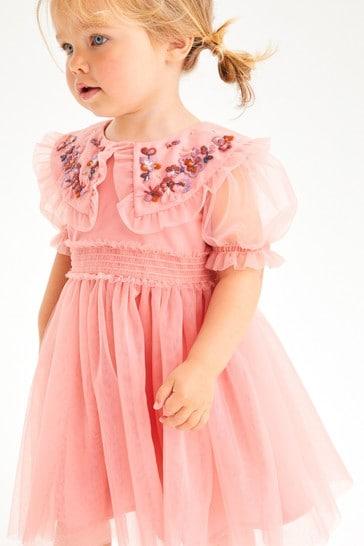 Rose Pink Embellished Mesh Collar Dress (3mths-7yrs)