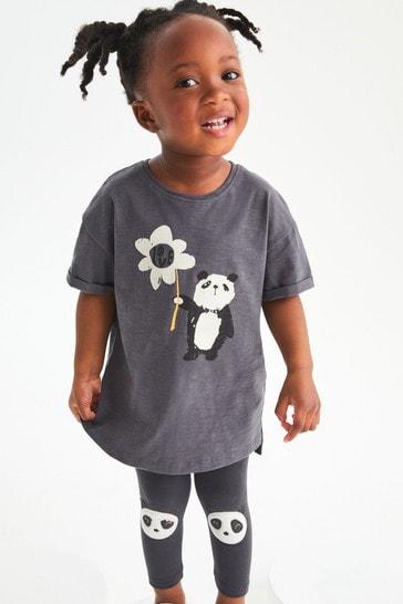 Charcoal Panda Longline Organic Cotton T-Shirt (3mths-7yrs)