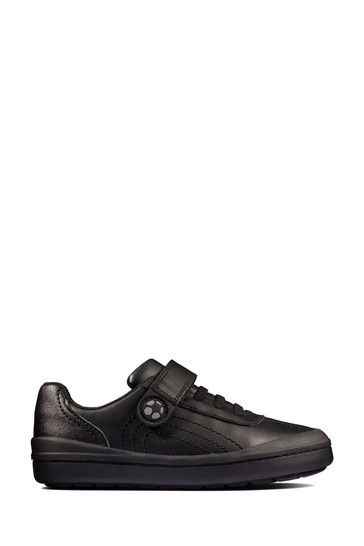 Clarks Black Leather Rock Pass KIds Shoes