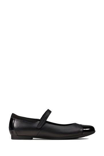 Clarks Black Leather Scala Gem Y Shoes