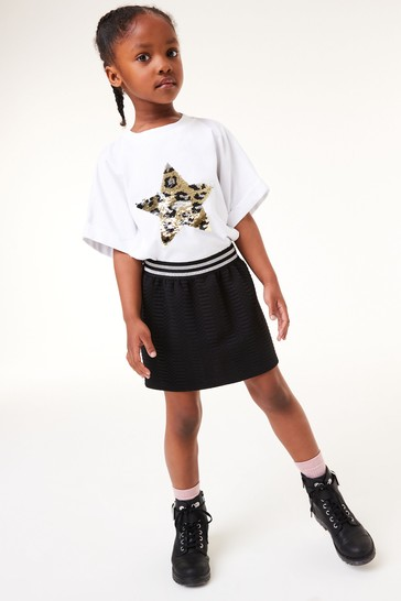 Black Quilted Jersey Stretch Skirt (3-16yrs)