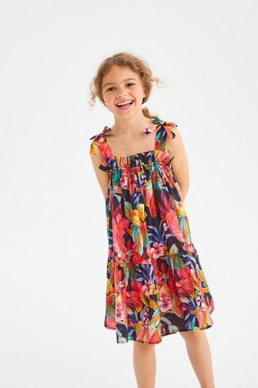 Multi Tropical Cotton Tie Shoulder Dress (3-16yrs)