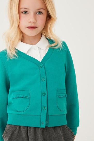 Green Frill Pocket Jersey Cardigan (3-16yrs)