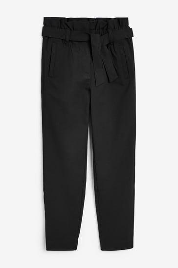 Black Senior Paperbag Waist Trousers (9-17yrs)