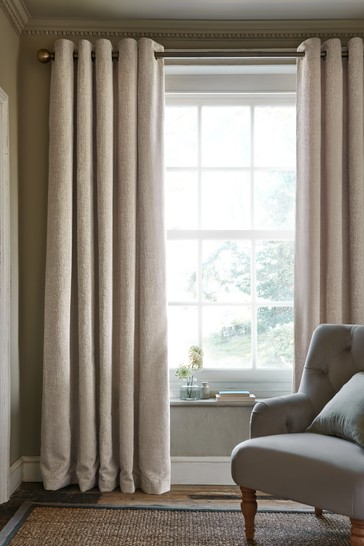 Natural Heavyweight Chenille Eyelet Lined Curtains
