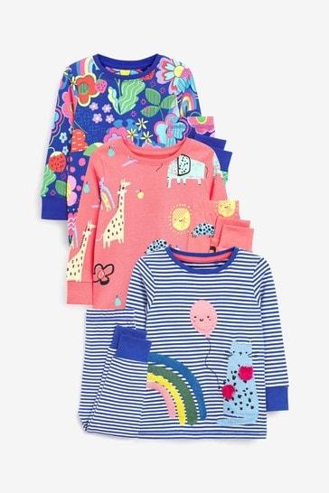 Multi Bright 3 Pack Character Appliqué Pyjamas (9mths-12yrs)