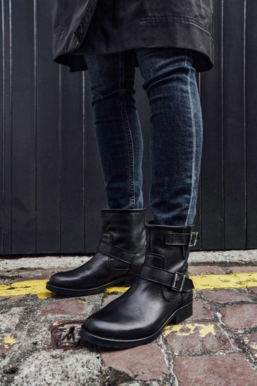 Barbour® International Black Leather Lima Buckle Boots