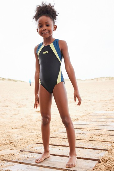 Black/Lime Sports Swimsuit (3-16yrs)