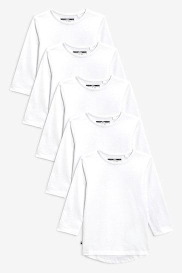 White 5 Pack Long Sleeve T-Shirts (3mths-7yrs)