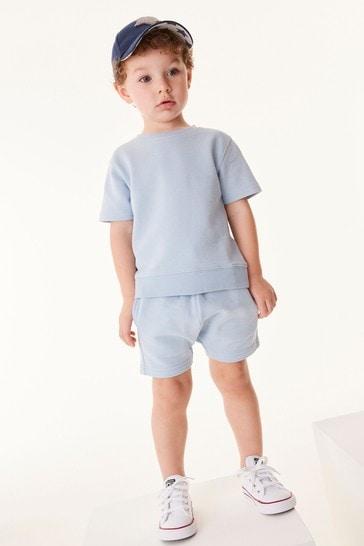 Light Blue Plain Sweat T-Shirt And Shorts Set (3mths-7yrs)