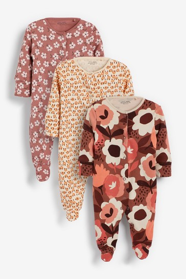 Rust Floral 3 Pack Sleepsuits (0-2yrs)