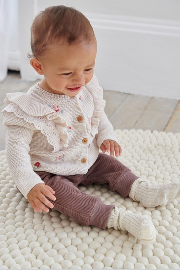 White Floral Embroidered Frill Sleeve Cardigan (0mths-2yrs)