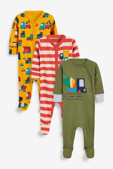 Green Transport 3 Pack Sleepsuits (0-2yrs)