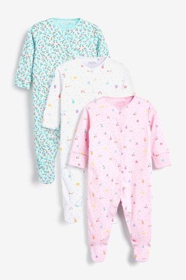 Fluro 3 Pack Printed Sleepsuits (0-2yrs)
