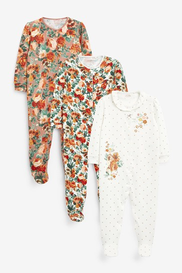 Orange Floral 3 Pack Embroidered Detail Sleepsuits (0-3yrs)