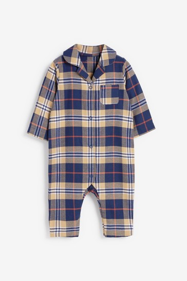 Navy Matching Family Kids Check Sleepsuit (0mths-3yrs)