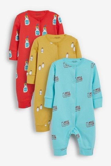 Bright Milk Club 3 Pack Sleepsuits (0-2yrs)