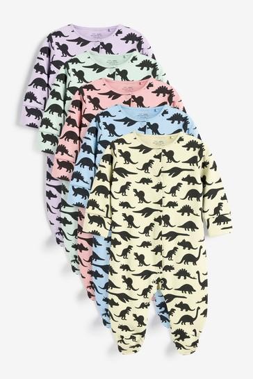 Pastel Dino 5 Pack Sleepsuits (0-2yrs)