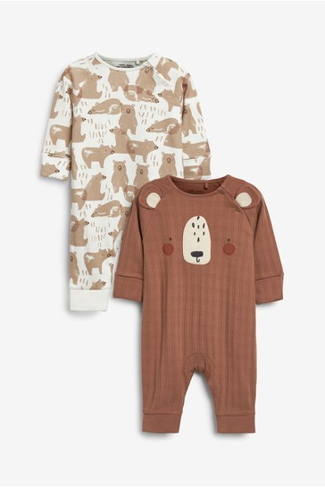 Tan Bear Footless 2 Pack Sleepsuits (0mths-3yrs)