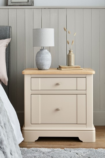 Hampton Country Luxe Painted Oak Wide Bedside Table