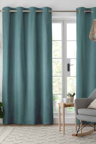 Dark Teal Blue Cotton Eyelet Blackout/Thermal Curtains