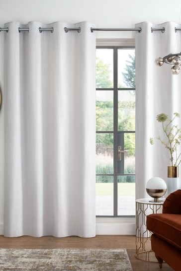 Light Grey Cotton Eyelet Blackout/Thermal Curtains