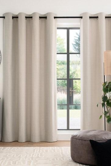 Dark Natural Cotton Eyelet Blackout/Thermal Curtains