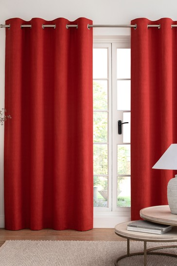 Red Cotton Eyelet Blackout/Thermal Curtains