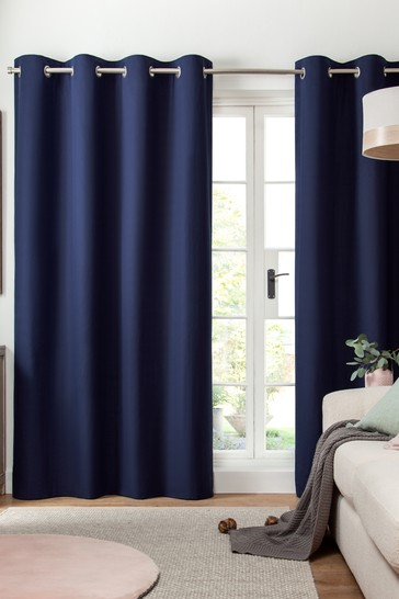 Navy Blue Cotton Eyelet Lined Curtains