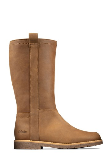 Clarks Tan Leather Comet Wild K Boots