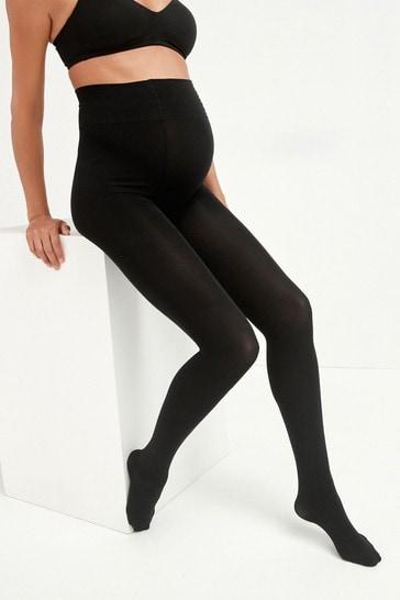 Black 3D 100 Denier Maternity Tights