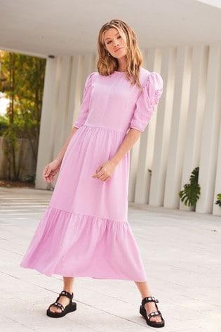 Lilac Puff Sleeve Midi Dress