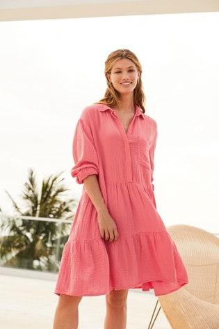 Coral Textured Oversized Shirt Dress