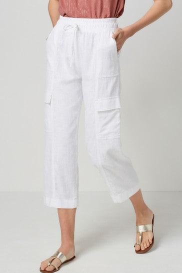 White Linen Blend Utility Crop Trousers